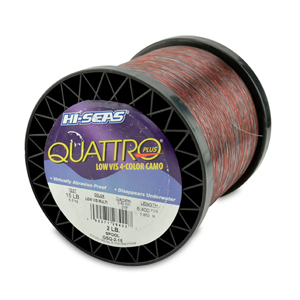 Quattro Mono Line, 15 lb (6.8 kg) test, .016 in (0.40 mm) dia, 4-Color Camo, 6400 yd (5852 m)