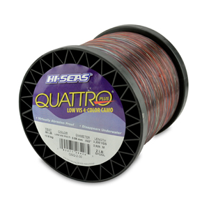 Quattro Mono Line, 30 lb (11.3 kg) test, .022 in (0.55 mm) dia, 4-Color Camo, 3200 yd (2926 m)