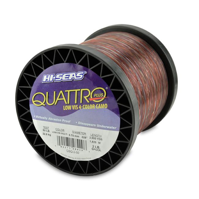 Quattro Mono Line, 50 lb (22.6 kg) test, .028 in (0.70 mm) dia, 4 Color Camo, 2000 yd (1829 m)