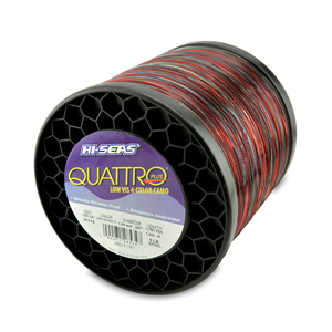 Quattro Mono Line, 130 lb (58.9 kg) test, .047 in (1.20 mm) dia, 4-Color Camo, 1750 yd (1600 m)
