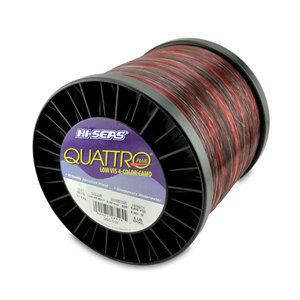 Quattro Mono Line, 25 lb (13.6 kg) test, .020 in (0.50 mm) dia, 4-Color Camo, 9800 yd (8961 m)