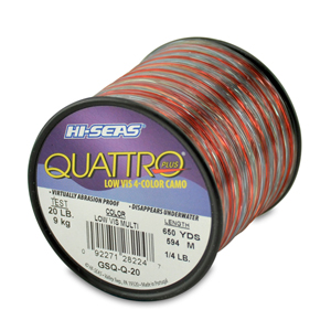 Quattro Mono Line, 20 lb (9.0 kg) test, .018 in (0.45 mm) dia, 4-Color Camo, 650 yd (594 m)