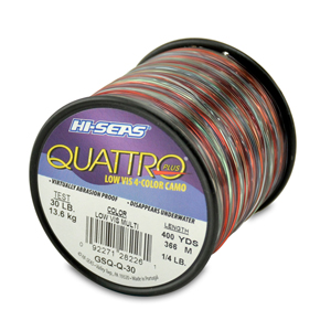 Quattro Mono Line, 30 lb (11.3 kg) test, .022 in (0.55 mm) dia, 4-Color Camo, 400 yd (366 m)