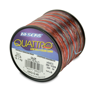 Quattro Mono Line, 40 lb (18.1 kg) test, .024 in (0.60 mm) dia, 4-Color Camo, 350 yd (320 m)