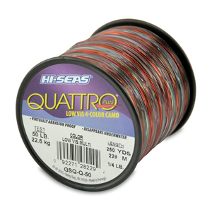 Quattro Mono Line, 50 lb (22.6 kg) test, .028 in (0.70 mm) dia, 4-Color Camo, 250 yd (229 m)