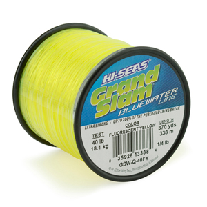 Grand Slam Bluewater Line, 40 lb (18.1 kg) test, .024 in (0.60 mm) dia, Fluorescent Yellow, 370 yd (338 m)
