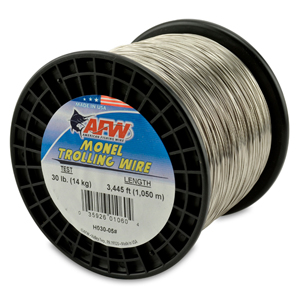 Monel Trolling Wire, Nickel-Copper Alloy, 30 lb (14 kg) test, .022 in (0.56 mm) dia, Bright, 3445 ft (1050 m)