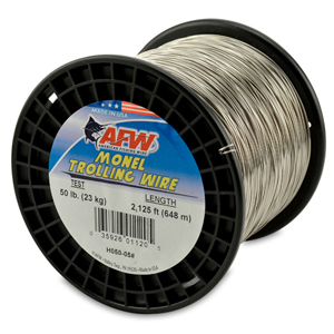 Monel Trolling Wire, Nickel-Copper Alloy, 50 lb (23 kg) test, .028 in (0.71 mm) dia, Bright, 2125 ft (647 m)