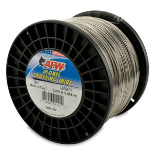 Monel Trolling Wire, Nickel-Copper Alloy, 60 lb (27 kg) test, .031 in (0.79 mm) dia, Bright, 3470 ft (1057 m)