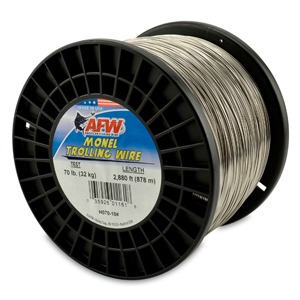 Monel Trolling Wire, Nickel-Copper Alloy, 70 lb (32 kg) test, .034 in (0.86 mm) dia, Bright, 2880 ft (877 m)