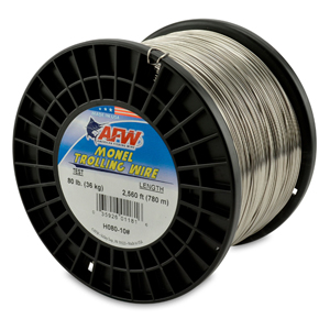 Monel Trolling Wire, Nickel-Copper Alloy, 80 lb (36 kg) test, .036 in (0.91 mm) dia, Bright, 2560 ft (780 m)