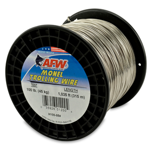 Monel Trolling Wire, Nickel-Copper Alloy, 100 lb (45 kg) test, .040 in (1.02 mm) dia, Bright, 1035 ft (315 m)