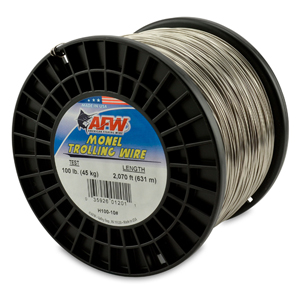 Monel Trolling Wire, Nickel-Copper Alloy, 100 lb (45 kg) test, .040 in (1.02 mm) dia, Bright, 2070 ft (630 m)