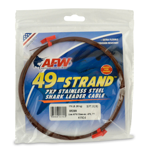 49 Strand, 7x7 Stainless Steel Shark Leader Cable, 175 lb (80 kg) test, .036 in (0.91 mm) dia, Camo, 30 ft (9.2 m)