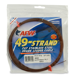 49 Strand, 7x7 Stainless Steel Shark Leader Cable, 275 lb (125 kg) test, .045 in (1.14 mm) dia, Camo, 30 ft (9.2 m)