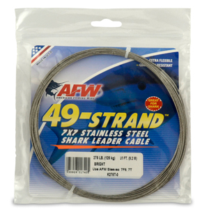 49 Strand, 7x7 Stainless Steel Shark Leader Cable, 275 lb (125 kg) test, .045 in (1.14 mm) dia, Bright, 30 ft (9.2 m)
