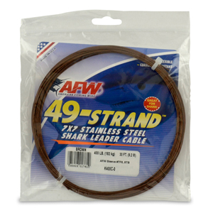49 Strand, 7x7 Stainless Steel Shark Leader Cable, 400 lb (182 kg) test, .054 in (1.37 mm) dia, Camo, 30 ft (9.2 m)