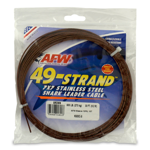 49 Strand, 7x7 Stainless Steel Shark Leader Cable, 600 lb (273 kg) test, .072 in (1.83 mm) dia, Camo, 30 ft (9.2 m)