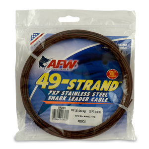 49 Strand, 7x7 Stainless Steel Shark Leader Cable, 800 lb (364 kg) test, .081 in 2.06 mm) dia, Camo, 30 ft (9.2 m)