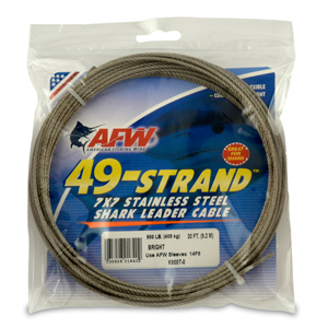 49 Strand, 7x7 Stainless Steel Shark Leader Cable, 900 lb (409 kg) test, .093 in (2.36 mm) dia, Bright, 30 ft (9.2 m)