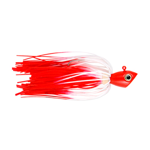 No Alibi, Alien Jig Inshore Series, Red/White Skirt, 1/4 oz (7.0 g) Red Head, 3 pc