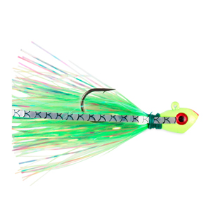 No Alibi, Alien Jig Inshore Series, Style AJGP, Pearl Green Skirt, 3/8 oz (10.6 g) Green Head, 3 pc