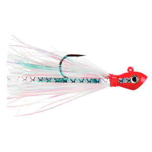 No Alibi, Alien Jig Inshore Series, Pearl Skirt, 3/8 oz (10.6 g)  Red Head, 3 pc