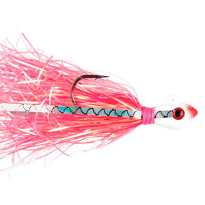 No Alibi, Alien Jig Inshore Series, Pearl Red Skirt, 3/8 oz (10.6 g) White/Red Head, 3 pc