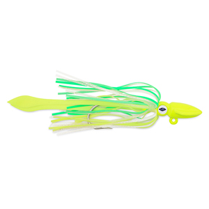 No Alibi, Alien Jig - Squid Head, 2.5 oz (70.9 g), Glow Green/Chartreuse Head, Skirt, Chartreuse Squid Paws, 8.5 in (21.6 cm)