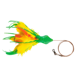 No Alibi, Dolphin Delight Rigged & Ready, Green/Yelow/Red Skirt, 1.5 oz (42.5 g) Lead Head, 6 in (15.2 cm), 7/0 Mustad Hook, AFW Swivel, 135 lb (61 kg) AFW Cable, 3 ft (0.9 m)