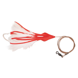 No Alibi, Dolphin Delight Rigged & Ready, Red/White Skirt, 1.5 oz (42.5 g) Lead Head, 6 in (15.2 cm), 7/0 Mustad Hook, AFW Swivel, 135 lb (61 kg) AFW Cable, 3 ft (0.9 m)