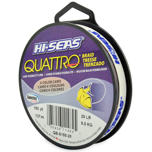 Quattro Braid, 20 lb (9.1 kg) test, .008 in (0.20 mm) dia, 4-Color Camo, 150 yd (137 m)