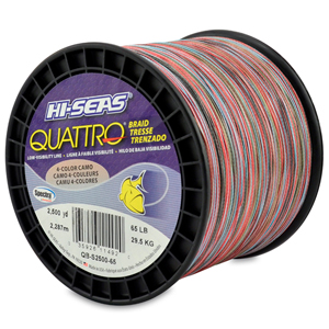 Quattro Braid, 65 lb (29.4 kg) test, .016 in (0.41 mm) dia, 4-Color Camo, 2500 yd (2286 m)