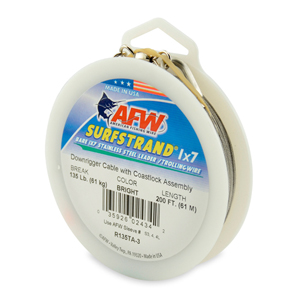 Surfstrand Downrigger Wire, 1x7 Stainless Steel, Comp. Assembly, 135 lb (61 kg) test, .027 in (0.69 mm) dia, Bright, 200 ft (61 m)