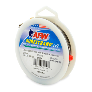 Surfstrand Downrigger Wire, 1x7 Stainless, Comp. Assembly, 150 lb (68 kg) test, .031 in (0.79 mm) dia, Bright, 150 ft (46 m)