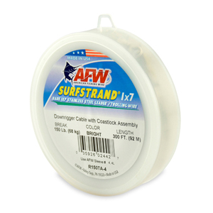 Surfstrand Downrigger Wire, 1x7 Stainless, Comp. Assembly, 150 lb (68 kg) test, .031 in (0.79 mm) dia, Bright, 300 ft (92 m)