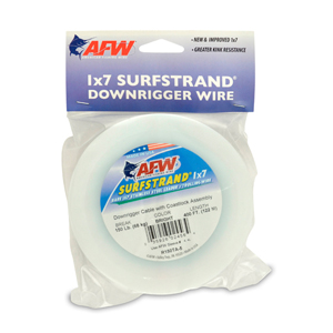 Surfstrand Downrigger Wire, 1x7 Stainless, Comp. Assembly, 150 lb (68kg) test, .031 in (0.79 mm) dia, Bright, 400 ft (122 m)