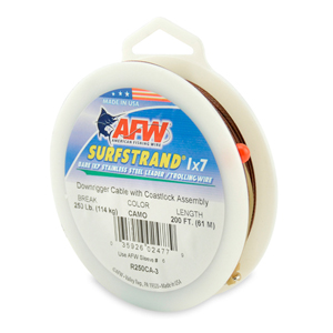 Surfstrand Downrigger Wire, 1x7 Stainless Steel, Comp. Assembly, 250 lb (114kg) test, .039 in (0.99 mm) dia, Camo, 200 ft (61 m)