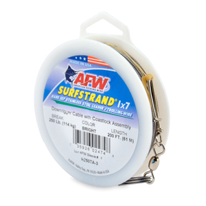 Surfstrand Downrigger Wire, 1x7 Stainless Steel, Comp. Assembly, 250 lb (114kg) test, .039 in (0.99 mm) dia, Bright, 200 ft (61 m)