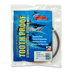 #2 ToothProof Stainless Steel Single Strand Leader, 27 lb (12 kg) test, .011 in (0.28 mm) dia, Camo 1/4 lb (114 g)