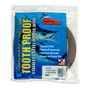 #2 ToothProof Stainless Steel Single Strand Leader, 27 lb (12 kg) test, .011 in (0.28 mm) dia, Camo 1 lb (454 g)