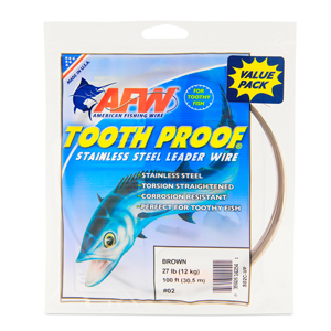 #2 ToothProof Stainless Steel Single Strand Leader, 27 lb (12 kg) test, .011 in (0.28 mm) dia, Camo, VALUE PACK 100 ft (30.5 m)