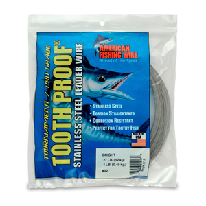 #2 ToothProof Stainless Steel Single Strand Leader, 27 lb (12 kg) test, .011 in (0.28 mm) dia, Bright 1 lb (454 g)