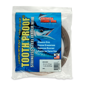 #3 ToothProof Stainless Steel Single Strand Leader, 32 lb (15 kg) test, .012 in (0.30 mm) dia, Camo, 1 lb (454 g)
