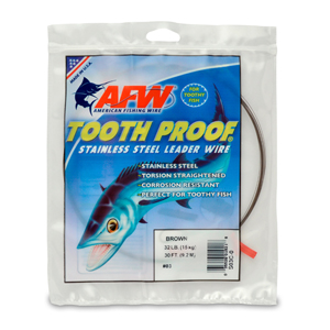 #3 ToothProof Stainless Steel Single Strand Leader, 32 lb (15 kg) test, .012 in (0.30 mm) dia, Camo, 30 ft (9.2 m)