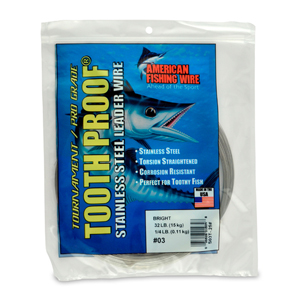 #3 ToothProof Stainless Steel Single Strand Leader, 32 lb (15 kg) test, .012 in (0.30 mm) dia, Bright, 1/4 lb (114 g)