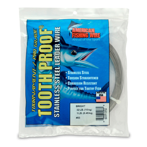 #3 ToothProof Stainless Steel Single Strand Leader, 32 lb (15 kg) test, .012 in (0.30 mm) dia, Bright, 1 lb (454 g)