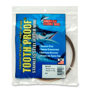 #4 ToothProof Stainless Steel Single Strand Leader, 38 lb (17 kg) test, .013 in (0.33 mm) dia, Camo, 1/4 lb (114 g)