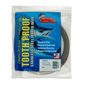#4 ToothProof Stainless Steel Single Strand Leader, 38 lb (17 kg) test, .013 in (0.33 mm) dia, Camo, 1 lb (454 g)