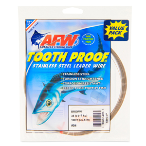 #4 ToothProof Stainless Steel Single Strand Leader, 38 lb (17 kg) test, .013 in (0.33 mm) dia, Camo, VALUE PACK 100 ft (30.5 m)